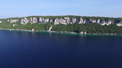 Beautiful landscape of Bruce Peninsula in Ontario viewed from drone