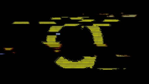 The recycle symbol created with yellow ASCII characters. Heavy digital glitch distortion fx applied.