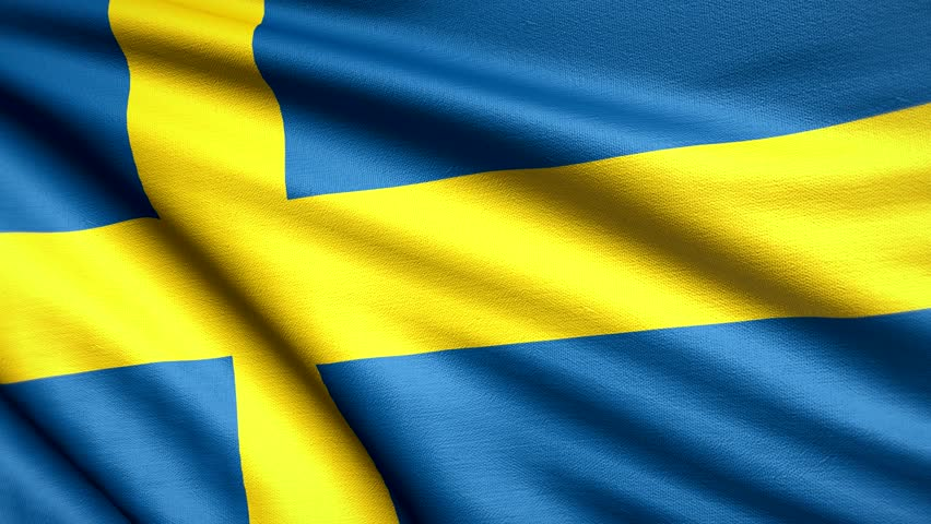Sweden Flag 4K. Realistic Looping Animation With Highly Detailed Fabric