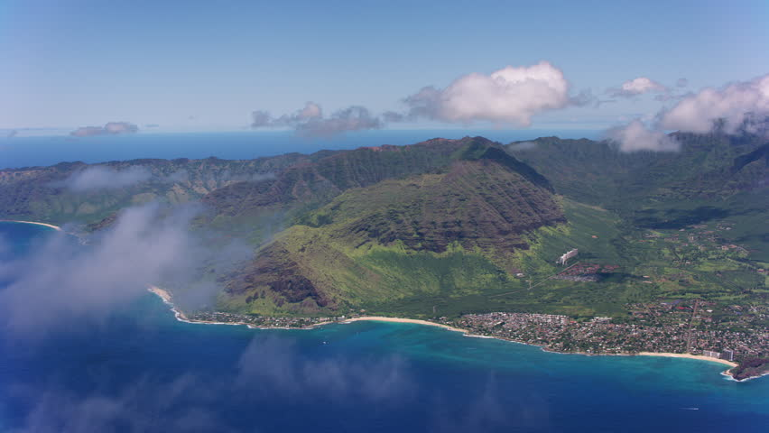 Oahu, Hawaii circa-2018. Aerial view of Makaha Valley area. Shot with Cineflex and RED Epic-W Helium.