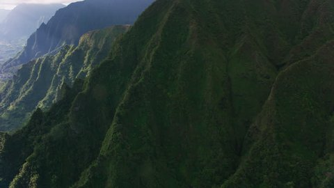 Oahu, Hawaii circa-2018. Aerial view of Waiahole Forest Reserve. Shot with Cineflex and RED Epic-W Helium.