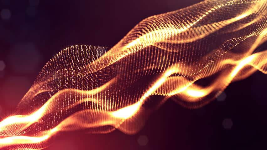 Particles form line, surface grid or mysterious virtual space. 3d seamless animation as digital science fiction background of glowing particles with depth of field, bokeh. Red gold strings