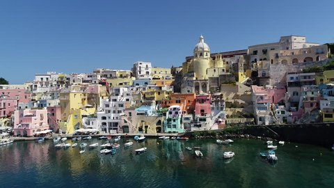 Aerial view of Corriccella fisherman village in Procida, island of the Gulf of Naples, Italy