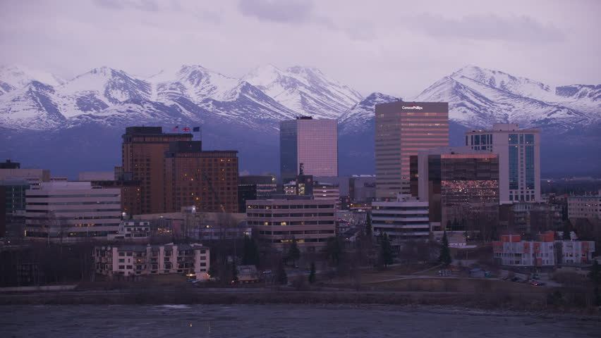 Anchorage, Alaska circa-2018. Aerial view of Anchorage, Alaska at dusk. Shot from helicopter with Cineflex gimbal and RED Epic-W camera.