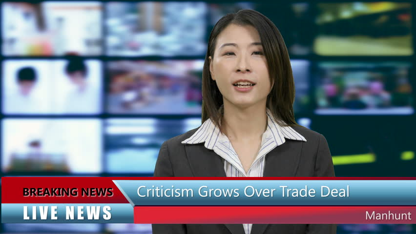 Chinese Asian American news anchorwoman in studio with lower thirds | Shutterstock HD Video #1011741008
