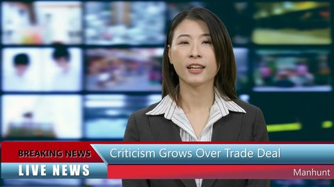Chinese Asian American news anchorwoman in studio with lower thirds