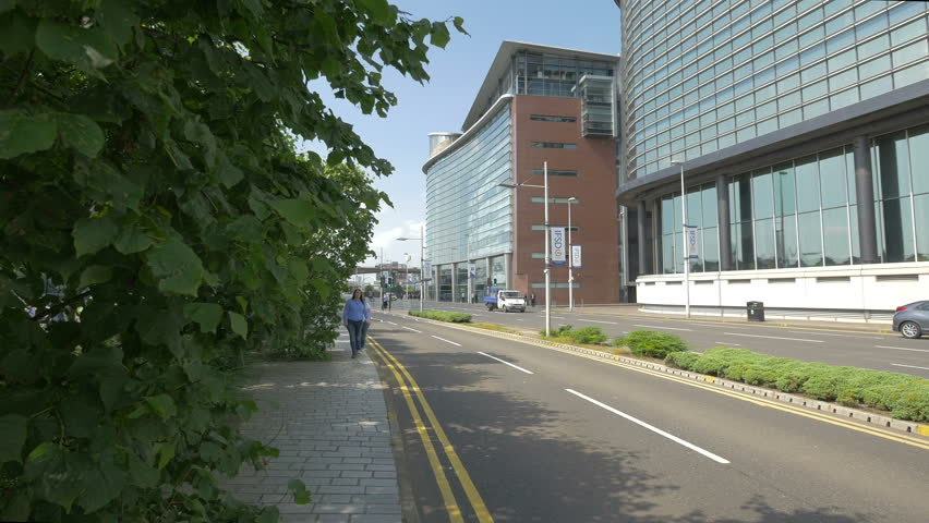 Glasgow, United Kingdom - May, 2016: Bike lanes near the financial district in Glasgow | Shutterstock HD Video #1011776228