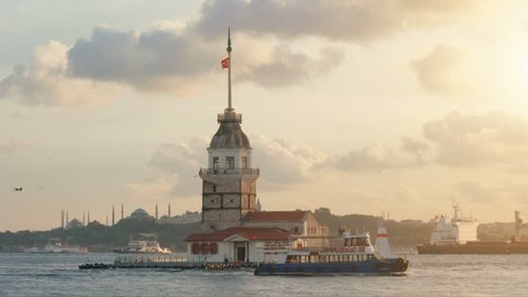 maidens tower in istanbul, turkey, kiz kulesi tower, sunset in istanbul