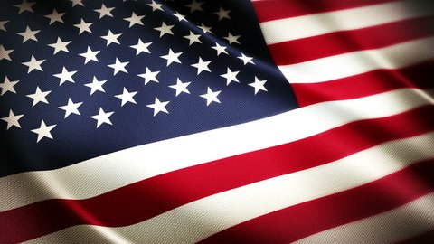 United States flag waving textile fabric textured background, seamless loop, full screen, slow motion