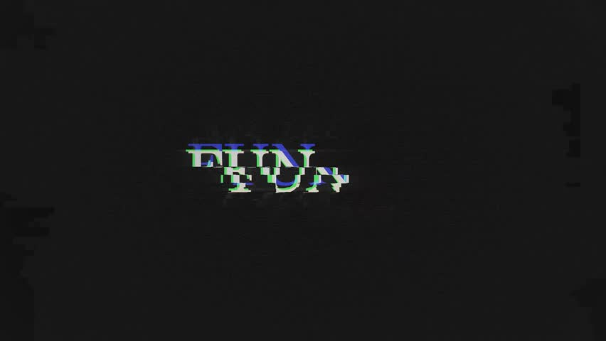 FUN. retro videogame press start text words on old tv vhs glitch interference screen ... New quality universal vintage motion dynamic animated background colorful joyful cool video footage   Shutterstock HD Video #1011879458