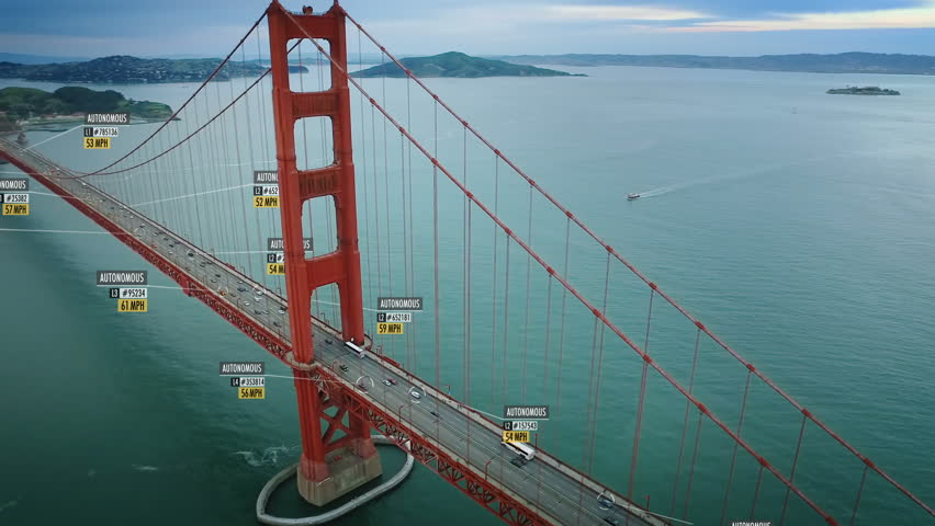Driverless or autonomous car aerial view. Traffic passing in Golden Gate bridge. Fake plate number, miles per hour and ID displaying. Future transportation. Golden Gate Bridge. San Francisco.
