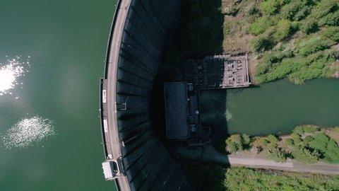 Overhead Water Dam Aerial Angle