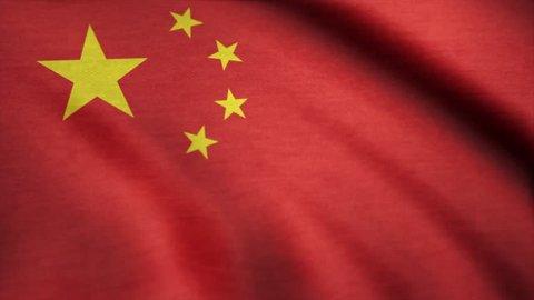 Flying Flag of China. China flag waving