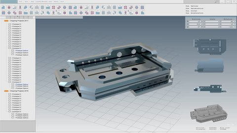 User Interface Mock-up: 3D Metallic Model of the Industrial Mechanism / Component / Shown in CAD Program.