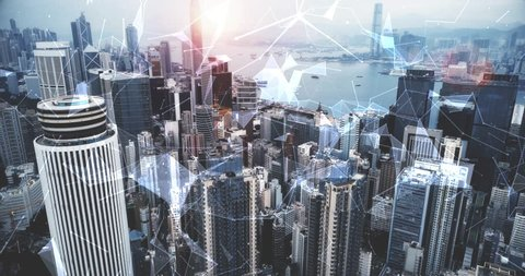 Modern cityscape and linking communication network in Hong Kong, communication concept.