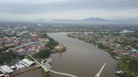 KUCHING, MALAYSIA - May 28th, 2018: Skyline view of the city of Kuching in the state of Sarawak, Island of Borneo in Malaysia.