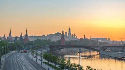 Moscow city skyline sunrise timelapse at Kremlin Palace Red Square and Moscow River, Moscow Russia 4K Time Lapse