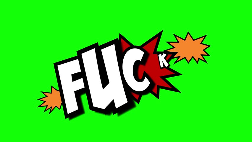 A comic strip speech cartoon animation with an explosion shape. Words: Cock, Wank, Fuck. White text, red and yellow spikes, green background.