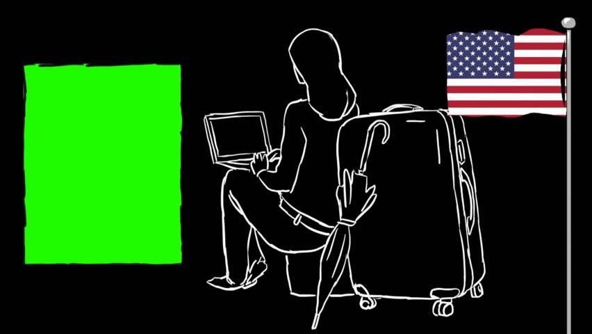 USA  hand drawn tourism | Shutterstock HD Video #1012042538