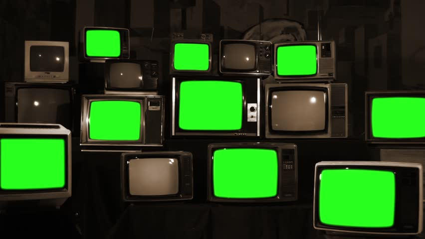 Many Tvs With Green Screens. Sepia Tone. Aesthetics of the 80s. Zoom In. Ready to Replace Green Screens with Any Footage or Picture you Want.  | Shutterstock HD Video #1012046288