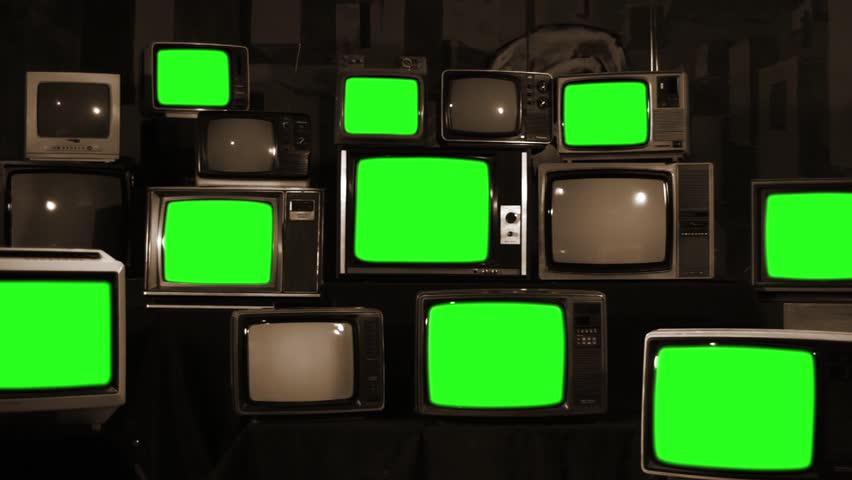 Many Tvs With Green Screens. Sepia Tone. Aesthetics of the 80s. Zoom Out.  Ready to Replace Green Screens with Any Footage or Picture you Want.  | Shutterstock HD Video #1012046348