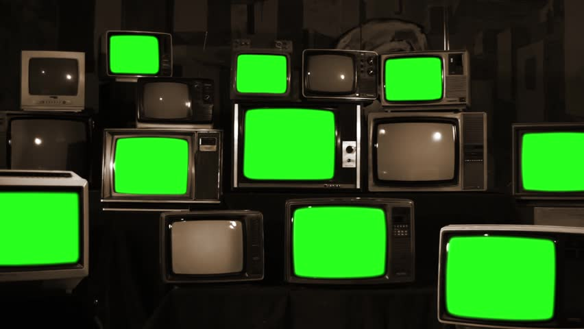 "Retro TVs Green Screen. Sepia Tone. Zoom Out. You can Replace Green Screen with the Footage or Picture you Want with ""Keying"" effect in After Effects (check out tutorials on YouTube).  
