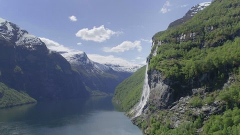 Aerial drone video of The Geiranger fjord in western Norway.