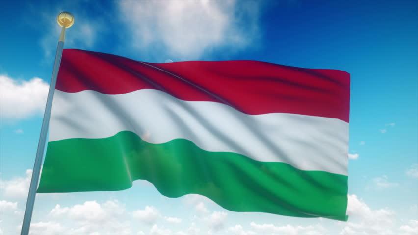 Hungary Flag Waving 3D Rendering Blue Sky Background - Seamless Loop 4K