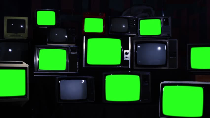 Many Tvs With Green Screens Turning Off. Zoom Out. Blue Steel Tone. Aesthetics of the 80s. Ready to Replace Green Screens with Any Footage or Picture you Want.  | Shutterstock HD Video #1012059938