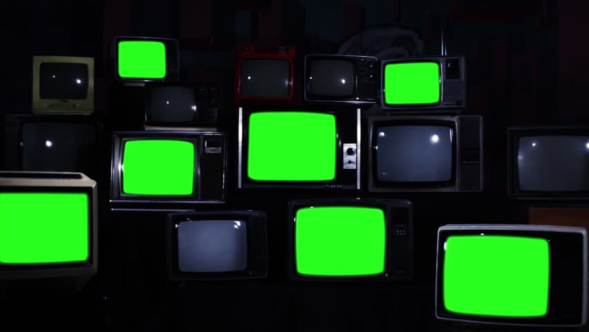 Various Retro TVs Turning Off Green Screen. Aesthetics of the 80s. Night Tone. Zoom Out.  | Shutterstock HD Video #1012059938