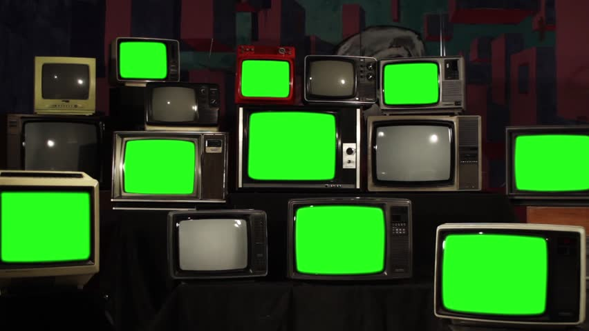 Different Retro Televisions Turning Off Green Screen. Zoom In. Aesthetics of the 80s.  | Shutterstock HD Video #1012060628