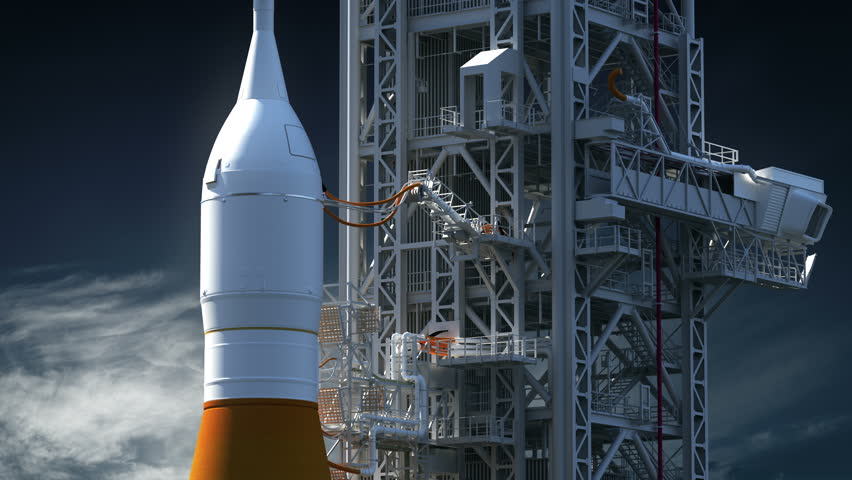 Space Launch System On Launch Pad. Realistic 3D Animation. 4K. Ultra High Definition. 3840x2160. | Shutterstock HD Video #1012060658
