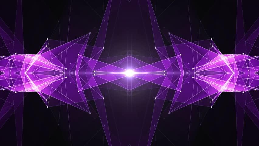 abstract symmetrical PURPLE poligon shape net shiny cloud animation background new quality dynamic technology motion colorful video footage