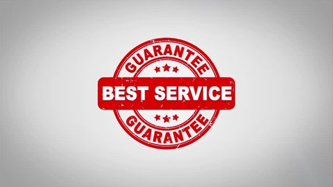 Best Service Signed Stamping Text Wooden Stamp Animation. Red Ink on Clean White Paper Surface Background with Green matte Background Included.
