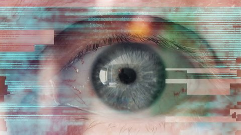Human eye scanning and analyzing computer code, conceptual image with digital glitch effect