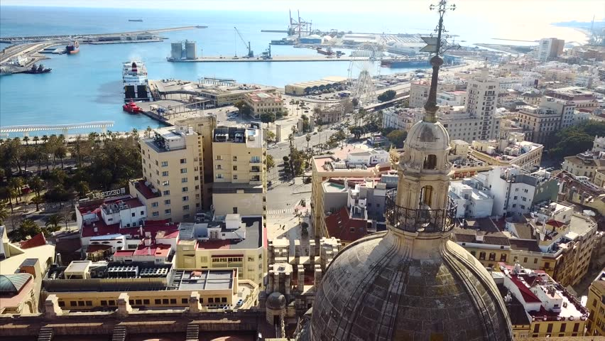 Aerial photography of the old city Malaga, spain, cityscape from the sky | Shutterstock HD Video #1012161818