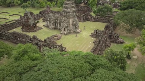 Phimai largest Khmer temples of Thailand Prasat Hin Historical Park. 4k drone shot in Nakhon Ratchasima province