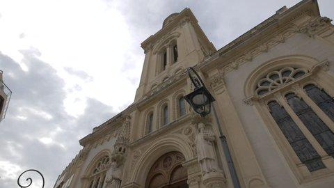 Monaco, Monaco - October, 2016: Low angle view of Saint-Charles Church's facade (\xCC\xE4glise Saint-Charles) in Monaco.