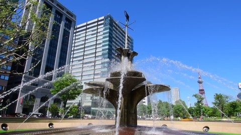 Sapporo city hokkaido,Japan May 20 2018 : Scenery of Odori Park in the summer. It is a famous park in the center of Sapporo, many citizens and tourists visit and various events are held.