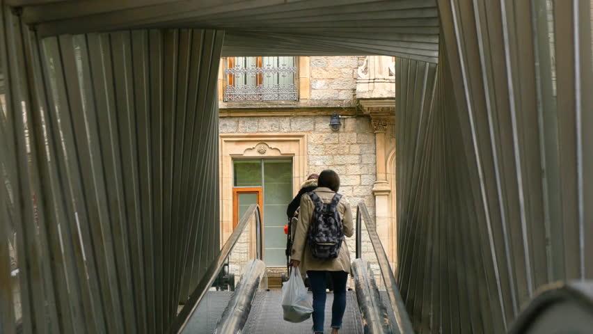 Using Urban Mobile Ramps. Mechanic Stairs. Vitoria-Gasteiz. Spain.