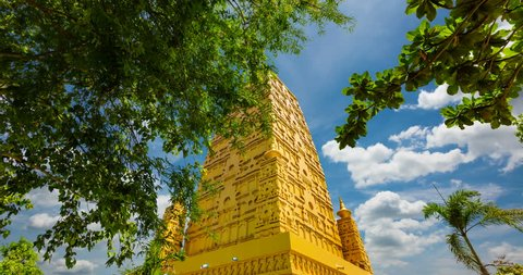 Wat Chom Pho ta Ya Ram,Bodh gaya Golden Pagoda Simulate From the holy place at India.In Thailand