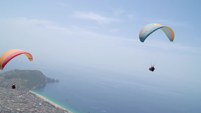Paragliding over Cleopatra beach, approaching the camera