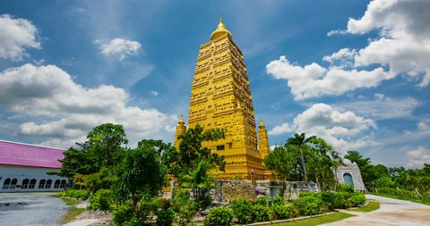 Wat Chom Pho ta Ya Ram,Bodh gaya Golden Pagoda Simulate From the holy place at India.In Thailand