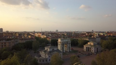 sunset time milan city famous arch of peace aerial panorama 4k italy