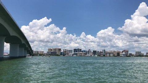 Ringling Bridge and Downtown in Sarasota, Florida