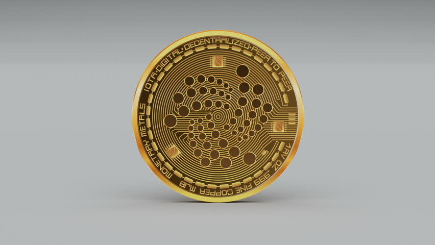 4k iota coin IoT Crypto Currency Logo 3D rotates finance monetary business animation. cg_06160_4k