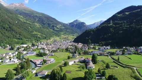 Grison Canton, Valposchiavo. Village of Poschiavo. Aerial view with drone