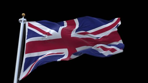 flag of the United Kingdom Of Great Britain and Northern Ireland (Union Jack) with flagpole waving in wind.A fully digital rendering,loops at 20 seconds.flag 3D animation with alpha channel included.