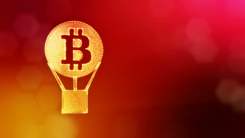 Sign of bitcoin in a hot air balloon. Financial background made of glow particles as vitrtual hologram. Shiny 3D loop animation with depth of field, bokeh and copy space. Red V4   Shutterstock HD Video #1012388978