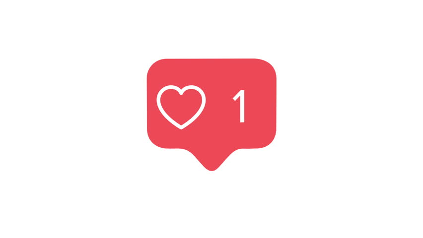 4K social media red heart counter, shows likes over time on a white background with alpha matte
